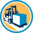 Forklift Truck Box Circle Retro — Stock Vector #58389753
