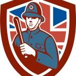 British Bobby Policeman Truncheon Flag Shield Retro — Stock Vector #58389835