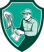 Janitor Cleaner Holding Mop Cloth Shield Retro — Stock vektor
