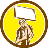 Protester Activist Union Worker Placard Sign Woodcut — Stockvector
