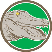 Alligator Head Snout Circle Retro — Stock Vector