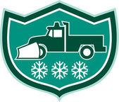 Snow Plow Truck Snowflakes Shield Retro — Stock Vector