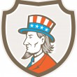 Uncle Sam American Side Shield Crest — Stock Vector #58911311