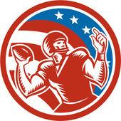 American Football QB Throwing USA Flag Retro — Stock Vector