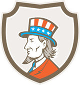 Uncle Sam American Side Shield Crest — Stock Vector