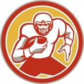 American Football Running Ball Circle Retro — Stock Vector