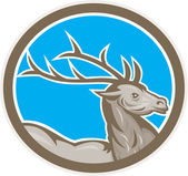 Deer Stag Buck Head Circle Retro — Stock Vector