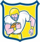 American Football Fullback Shield Retro — Stock Vector