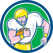 American Football Fullback Circle Retro — Stock Vector