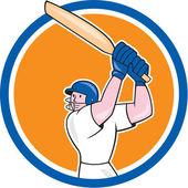 Cricket Player Batsman Batting Circle Cartoon — Stock Vector