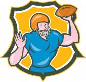 American Football QB Throwing Shield Retro — Stock Vector