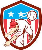 Бейсбольный аутфилдер питчера, бросающий шар, ограждает мультфильм — Cтоковый вектор