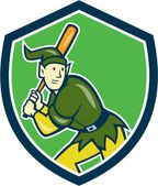 Elf Baseball Player Batting Shield Cartoon — 图库矢量图片