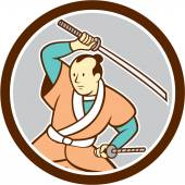 Samurai Warrior Katana Sword Circle Cartoon — Stock Vector