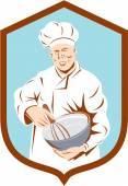 Baker kock Cook blandning skål sköld Retro — Stockvektor
