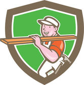 Builder Carpenter Carrying Timber Shield Cartoon — Stock Vector