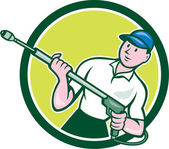 Pressure Washer Water Blaster Circle Cartoon — Stockvector
