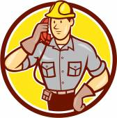 Telephone Repairman Phone Circle Cartoon  — Stockvektor