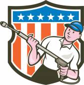 Pressure Washer Water Blaster USA Flag Cartoon — Stockvector