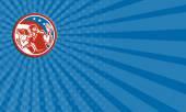 Business card American Football QB Throwing USA Flag Retro — Stock Photo