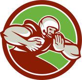 American Football Player Rushing Fending Circle Retro — Stock Vector