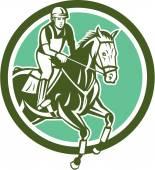 Equestrian Show Jumping Circle Retro — Vecteur
