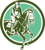 Springconcours paardensport cirkel retro — Stockvector
