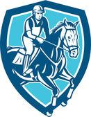 Equestrian Show Jumping Shield Retro — Vecteur