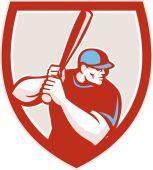 Baseball Player Batter Hitter Shield Retro — Stock Vector