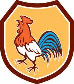 Chicken Rooster Crowing Looking Up Shield Retro — Stockvektor