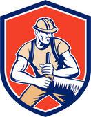 Lumberjack Logger Crosscut Saw Shield Retro — Stock Vector