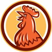 Chicken Rooster Head Crowing Circle Retro — Stock Vector