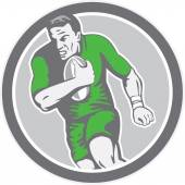 Rugby Player Running Ball Circle Retro — Stock Vector