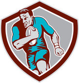 Rugby Player Running Ball Shield Retro — Stock Vector