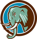 Elephant Head Side Circle Cartoon — Stock Vector