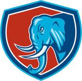 Elephant Head Side Shield Cartoon — Stock Vector