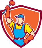Plumber Holding Plunger Up Shield Cartoon — Stock Vector