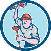 Plumber Holding Wrench Plunger Circle Cartoon — Stock Vector