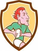 Rugby Player Running Ball Shield Cartoon — Stock Vector
