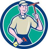 Window Washer Cleaner Squeegee Cartoon — Vector de stock