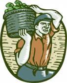 Organic Farmer Basket Crop Woodcut Linocut — Stock Vector