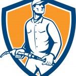 Gas Jockey Attendant Fuel Pump Nozzle Shield — Stock Vector #61663005