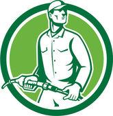 Gas Jockey Gasoline Attendant Fuel Pump Nozzle — Stock Vector
