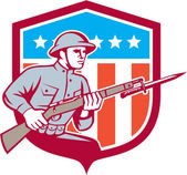 World War One Soldier American Retro Shield — Stock Vector