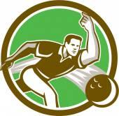 Bowler Throwing Bowling Ball Circle Retro — Stock Vector