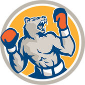 Angry Bear Boxer Gloves Circle Retro — Stockvector