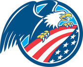 American Bald Eagle Clutching USA Flag Circle Retro — Stock Vector