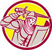 Crusader Knight With Sword and Shield Circle Retro — 图库矢量图片