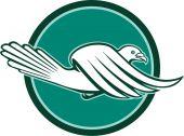 Pigeon Bird Racing Flying Side Circle Retro — Stock Vector