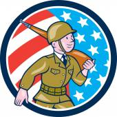 World War Two Soldier American Marching Cartoon Circle — Stock Vector